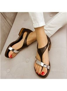 Shoespie Metal Color Flat Sandals