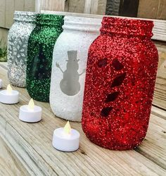 Gorgeous set of holiday mason jars, pint or Quart sized mason jar. What a fabulous way to decorate for the holidays or Christmas decorations This is for 4 shimmering holiday mason jars. Great for seas