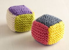 Baby Blocks - I'd knit a 4 block strip then p/u and knit the other two blocks to minimize seaming.