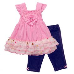 Infant Stripe Dress and Denim Legging Set - Sweet little outfit!!!