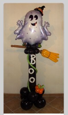 Balloon Halloween column. #balloon #column #art #decor #twists #sculpture. #balloon #halloween #party #decoration