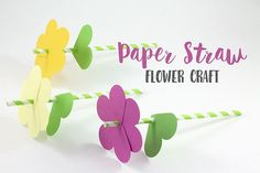 This paper straw flower craft is the perfect way to welcome spring flowers and blue skies! This craft is simple to make and requires minimal supplies.