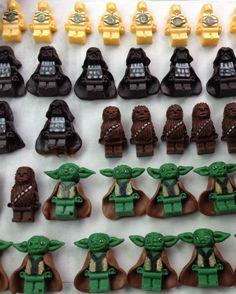 Homemade, edible Star Wars Lego figures for cupcakes