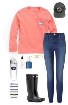 """Country Born- Country Raised"" by elizabeth-southern-prep ❤ liked on Polyvore featuring Vineyard Vines, Frame Denim, Hunter, Tervis, Tiffany & Co., Tory Burch, Essie and country"