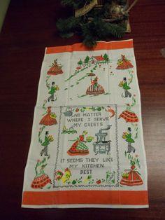 Vintage Flour Sack Dish Towel, Victorian, Dish Towel