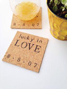 Lucky in Love Coasters #weddinggift #forthebride #anniversary #homedecor #love #weddingdate