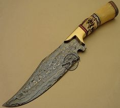 New Amazing Damascus Bowie Knife Custom Handmade Damascus Steel Hunting Knife Best Damascus Bowie Knife With Stag & Bone Handle Leather Sheaths 1513