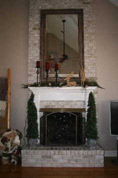 painted brick fireplace - I love this because it still looks like brick