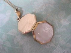 Vintage Mother Of Pearl Locket, Octagon Shaped, 1940's, Art Deco Style, Gold Filled