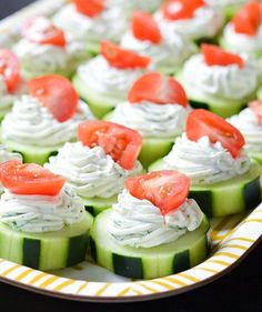 Dilly Cucumber Bites: Amidst cheesy dips and decadent desserts, partygoers will appreciate this healthy veggie appetizer. After cutting cucumbers into round slices, top with a homemade dill and cream cheese mixture and finish with a halved cherry tomato. They're a fun, refreshing choice, especially on a hot and sunny day.