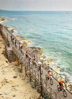 Cyclists on the footpath.. Limassol, Cyprus