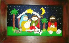 detallitosnanis: NAVIDAD Christmas And New Year, Christmas Crafts, Christmas Decorations, Xmas, Holiday Decor, Nativity, Diy And Crafts, Projects To Try, Scrapbook