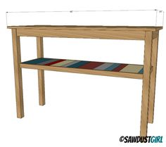 DIY console table - free and easy plans from https://sawdustgirl.com.  #DIY #Furniture #Plans