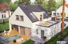 Projekty domów ARCHIPELAG - Pedro II G1 ENERGO PLUS Sims 4 House Design, Village House Design, Village Houses, Bungalow Extensions, House Extensions, Small House Floor Plans, House Plans, Pedro Ii, Home Design Plans