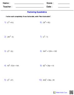 Factoring Quadratic Polynomial Functions Worksheets