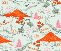 Tokyo Train Ride Countryside Cotton Fabric by Cotton & Steel