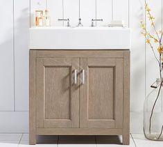 Modern Farmhouse Bathroom Sink Vanity - Image of Bathroom and Closet Farmhouse Sink Vanity, Modern Farmhouse Bathroom, Farmhouse Style Kitchen, Country Bathrooms, Half Bathrooms, Modern Bathrooms, Single Sink Vanity, Vanity Sink, Farmhouse Remodel
