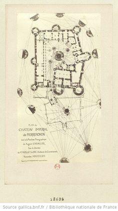Plan du château impérial de Pierrefonds levé à la planchette photographique de Auguste Chevallier sous la direction de Mr Viollet-le-Duc, Ar...