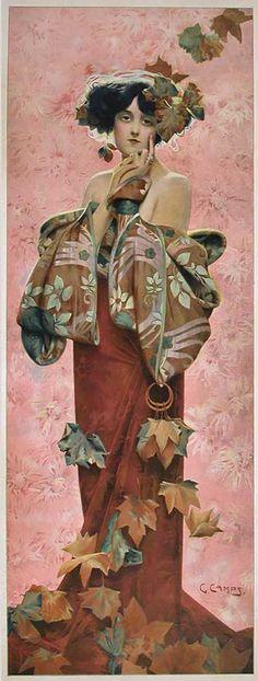 """""""Fall,"""" A French Art Nouveau Period Decorative Panel by Gaspar Camps, 1907 by Gaspar  Camps"""