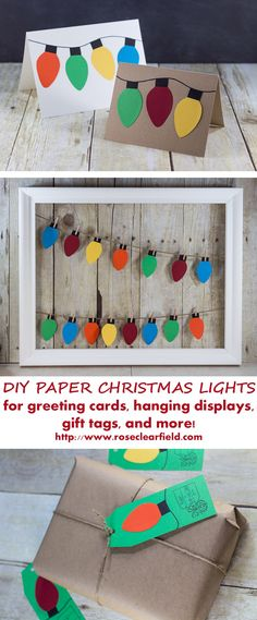 DIY paper Christmas lights holiday craft ideas. Make greeting cards, garlands, gift tags, and much more!   http://www.roseclearfield.com