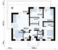 Первый этаж  дома Z368 D House Construction Plan, Bungalow, House Drawing, Small Spaces, House Plans, Floor Plans, Cottage, How To Plan, Architecture