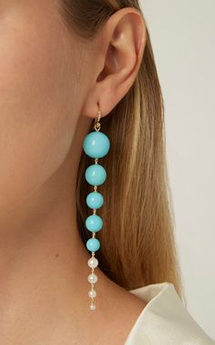 Shop Gold And Turquoise Earrings. Designed in a spherical drop setting, Irene Neuwirth's earrings are made from gold to hang well below the jawline. Jewelry Art, Jewelry Bracelets, Fine Jewelry, Jewelry Design, Women Jewelry, Jewelry Armoire, Baby Jewelry, Jewelry Dish, Jewelry Storage