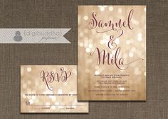 Champagne Bokeh Wedding Invitation & RSVP 2 Piece Suite Plum Gold Lights Modern Script Shabby Chic Pastel CUSTOM COLORS DiY or Printed- Mila...