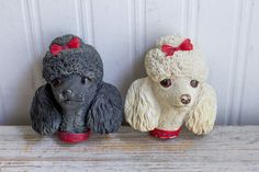 Vintage Bossons Black White Poodles - 1960's Made England by MollysMuses
