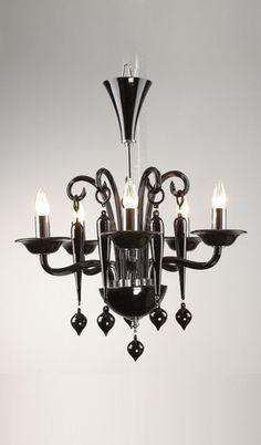 Venetian Glass Piccolo Black Italian Art Deco Chandelier 5 Lights
