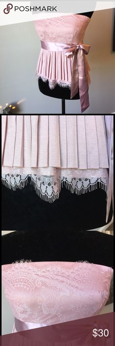 """Dusty Rose Top w/ Delicate Lace NWOT ⭐️  Never worn. There is so much detail in this top! Pleats, lace, ribbon sash all Kurt for a soft effect. 15"""" from top hem to bottom hem. Polyester with a silk sash. Zip up back. Victoria's Secret Tops"""