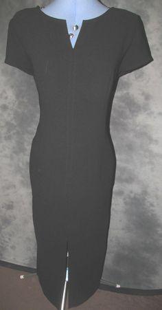 Peche,ladies,black,no pattern,v neck,short sleeved,calf length,Formal Dress.