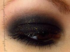 Gorgeous Eye Makeup -- Urban Decay Black Dog + LA Splash Golden Smoke.