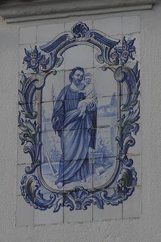 Azulejos of saint Josef in Vila Nova de Cerveira, Portugal.