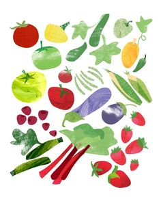 Summer veggies print by etsy seller redcruiser.  How cool would it be to have one of these for each season hanging in the kitchen?