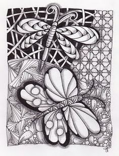Butterfly - Dragonfly - Zentangle - Doodles