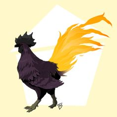 Maja glances from her burn to te front. A black rooster. Just, actually. However, something is odd: It's tail is a single fire!