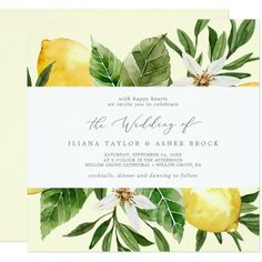 Modern Lemon | Yellow Square Wedding Invite with boho white flowers, elegant green leaves and bright yellow beautiful watercolor lemons on a soft pastel yellow background with a mediterranean feel. It's perfect for a spring or summer destination wedding in Italy or Greece. Click to customize with your personalized details today. Italy Wedding, Boho Wedding, Wedding Bride, Floral Wedding, Rustic Wedding, Destination Wedding, Square Wedding Invitations, Beautiful Wedding Invitations, Wedding Invitation Suite