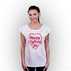 Koszulka z nadrukiem damska Dzień Mamy, biała  #tshirt #girl #nadruk #happy #mother #motherday #biała #dlaniej #damski #tshuttle
