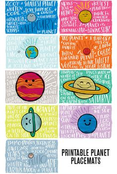 These are so cute to use while studying Exploring Creation with Astronomy: Fun Fact Placemats: Planets Teaching Science, Science Activities, Science Projects, Planets Activities, Stem Science, Science Lessons, Life Science, Space Facts For Kids, Space Classroom