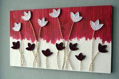String Art Flower 3d Flower Wall Art Woodcraft Floral Wood Art
