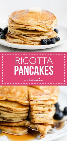 Easy Ricotta Pancakes - Super rich, moist and incredibly delicious. Pairs perfectly with maple syrup and fresh berries. My family absolutely LOVES this ricotta pancake recipe! #pancakes #homemade #breakfast #breakfastrecipes #easy #easyrecipe #milk #lemon #recipe #iheartnaptime