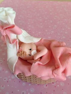 *COLD PORCELAIN ~ Baby on a Bassinet Small Cake Topper/Christening Baptism/ Birthday/Baby Shower/Diaper Cake Topper