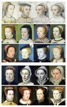 Google translation of French text: 1550 Years In France Originally, the collar has a tangle free of gathered pleats. Over time, the folds become more important in volume and it is this development once starched unborn fluted cutter. The edges of the folds are sometimes embroidered. The English fashion in Europe is characterized by its embroidered collars (second line portrait below), a feature which can still be seen on the English portraits 1570s.