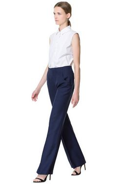 Image 1 of HIGH WAIST WIDE TROUSERS from Zara