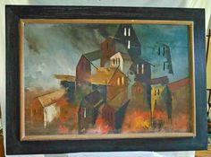 Vintage Mid Century Modern Oil Painting Cityscape Cubist Siber Framed Huge Scale