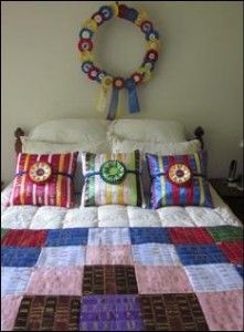 horse show ribbon quilts and pillows.