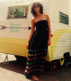 We are cool hippie chicks selling cool hippie clothes to cool hippie chicks. Love the Gypsy Made RV as the backdrop for Alexa. Modern Day Hippie, Hippie Chick, Hippie Outfits, Rv, Gypsy, Backdrops, Strapless Dress, Clothes For Women, Cool Stuff