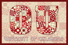 The Quilted University of Oklahoma.  Susan Davis, owner of Olde American Antiques and American Quilt Blocks, has created a series of original quilt block designs for universities and colleges in the United States.   Each of these designs is unique with a distinct color combination using the school colors and a matching border to enhance the overall pattern. These are the first quilt block designs created specifically for universities and colleges and are new to the quilting hobby.