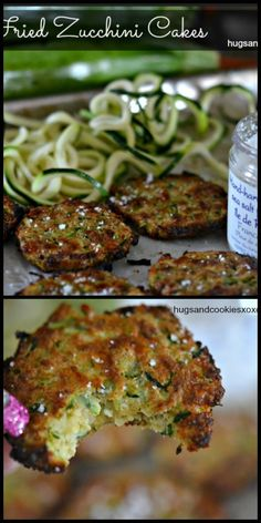 Zucchini Cakes – Hugs and Cookies XOXO Little zucchini cakes taste like fried patties or tater tots. These are a bit healthier as they use zucchini and are baked rather than fried. Adding some oil to the Side Dish Recipes, Vegetable Recipes, New Recipes, Vegetarian Recipes, Dinner Recipes, Cooking Recipes, Favorite Recipes, Healthy Recipes, Fried Zucchini Cakes