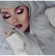 Adore this makeup look   @bangtsikitsiki Looks so cute  Wearing Lush style: Snowslide #lushwigssnowslide #lushwigs #wig #lushhair . This #gorgeous wig is in stock now at Lushwigs.com (link in bio)